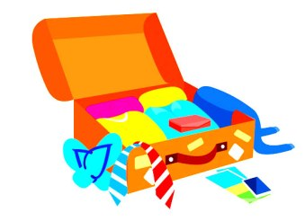 opened travel suitcase clothes clipart