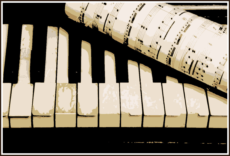 5116652-Vintage-alten-Klavier-und-Blatt-Papier-mit-der-Musik-in-Noten-Lizenzfreie-Bilder